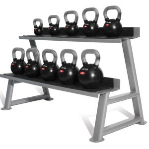 Jordan Black Rubber Chrome Handle Kettlebell Set (10 kettlebells & rack)