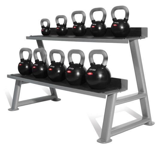 Jordan Black Rubber Chrome Handle Kettlebell Set (10 kettlebells & rack)