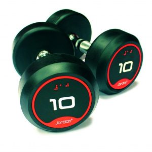 Jordan Classic Rubber Solid End Dumbbell Set With Rack 2-20kg